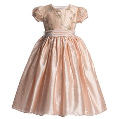 Nicki Macfarlane Peach Pink Silk 'Lily' Dress with Sequins at Childrensalon.com