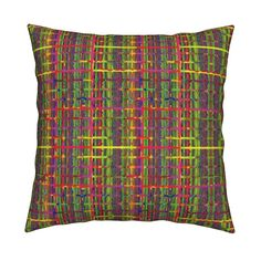 Catalan Throw Pillow featuring THE FUN AND FUNNY GRID PLAID Green Yellow by…