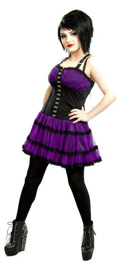 Poizen Industries - Laticia Dress - Black / Purple [LATICIA_DRESS_PURPLE] - £32.99 :
