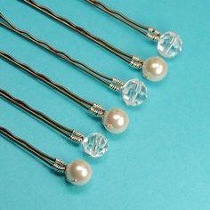 Pearl Bobby Pins, Crystal Bobby Pins, Mixed Set, Swarovski 8 mm Ivory Pearls
