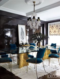 A Black Lacquer Dining Room - ELLEDecor.com
