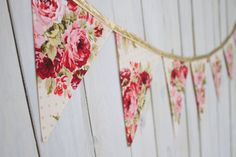 Vintage Style Rose Floral & Gold Bunting by MsRogersNeighborhood Etsy shop