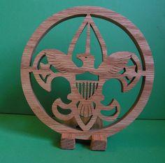 Handcrafted oak Boy Scout Emblem by WhiteFoxCrafts on Etsy, $12.95