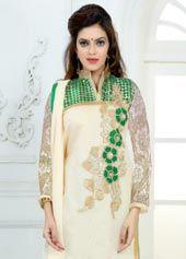 Cream Chanderi Cotton Churidar Suit 63856