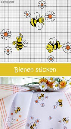Lustige Bienen und Blümchen sticken #Sticken #Kreuzstich / #Bienen; #Embroidery #Crossstitch / # bee / #ZWEIGART