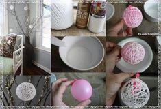 Una forma fácil de aprender a hacer esferas de hilo que sirven para decorar el árbol de navidad y otras ocasiones con mucha originalidad