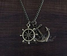 Anchor with rudder necklace Inspire jewelry steampunk style men gift on Etsy, $1.80