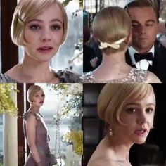 """The Great Gatsby sparks short hair bob trend and all the men said , """"hell no! Blonde Wavy Hair, Short Curly Hair, Dark Hair, Short Hair Cuts, Curly Hair Styles, 1920s Hair Short, Short Blonde, Great Gatsby Hairstyles, Bride Hairstyles"""