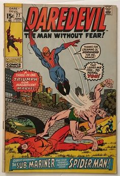 Daredevil #77 - Spider-Man & Sub-Mariner Appearance FN+ 6.5  - 15¢ Marvel Comics Bronze Age 1971