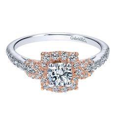 14k White/pink Gold Diamond Halo