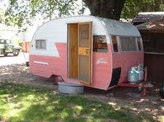 """Sweet little vintage trailer would be great to have in the back yard for """"camping"""""""