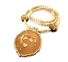 Natural Wooden Lion Head Pendant with a 36 Inch Beaded Necklace JOTW. $9.95. 100% Satisfaction Guaranteed!. Great Quality Jewelry
