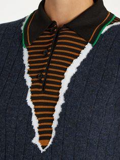 Maison Margiela Point-collar multi-knit sweater
