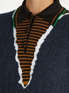 Visibly Interesting: Maison Margiela Point-collar multi-knit sweater