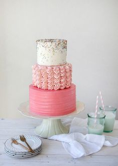 Brides: Pink and White Wedding Cake with Rainbow Sprinkles. Tessa Huff of Style Sweet CA created this pretty in pink wedding cake and topped it off with a pinch of nonpareils. Pretty Cakes, Cute Cakes, Beautiful Cakes, Amazing Cakes, Sprinkle Wedding Cakes, Sprinkle Party, Cake Wedding, Wedding Groom, Bolo Diy