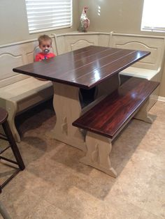 DIY Painted stained kitchen table, booth, banquette, nook.