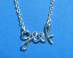 Silver wire GEEK necklace