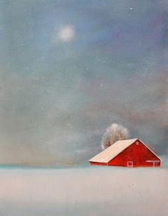 Dec 15 Red Barn in Snow Original Painting 11x14 Free Shipping, painting by artist Toni Grote