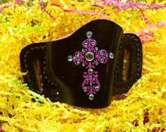 Ladies black custom leather gun holster. Hand crafted by Pink Pistol Holsters!