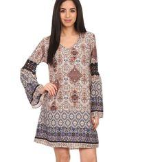 "Printed Crochet Sleeved Dress Gorgeous Navy Crochet Knitted Sleeve Detail. Royal blue, orange, cream, navy and black color pattern. Small Length 35"" /Medium Length 36""/ Large Length 36"" Dresses Midi"