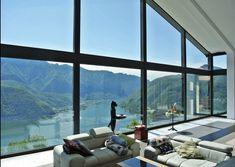 Spettacolare vista dalla zona living, villa in Carona Lugano. Lugano, Real Estate, Windows, Real Estates, Ramen, Window