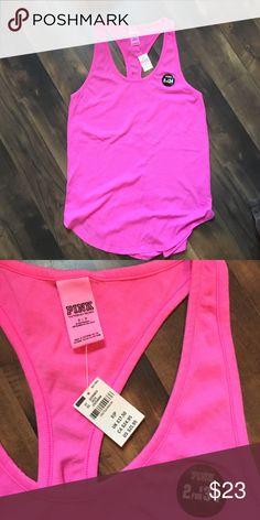 NWT pink razor tank Brand new pink razor back tank. Never worn still has tags! Bright pink isn't my color. 😘 PINK Victoria's Secret Tops Tank Tops