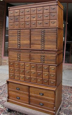 (Wabash Cabinet from Bradford Antiques) Love all the different sized drawers. Would be great for craft storage Unique Furniture, Vintage Furniture, Furniture Design, Rustic Furniture, Furniture Online, Furniture Stores, Powell Furniture, Cherry Furniture, Art Furniture