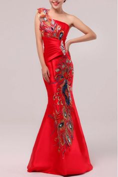 Satin One Shoulder Floor Length Mermaid Prom Dress with Crystal - WooVow