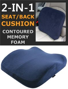 Memory Foam Seat Lumbar Pain Support Booster Car Cushion Chair Back Height Gain