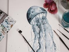 Tutorial: Watercolor Jellyfish painting for beginners - jolimanoli - Tutorial: Watercolor Jellyfish / Watercolor Jellyfish, step by step instructions for painting - Watercolor Beginner, Step By Step Watercolor, Watercolor Art Diy, Step By Step Painting, Watercolour Tutorials, Drawing Step, Watercolor Jellyfish, Jellyfish Painting, Jellyfish Facts