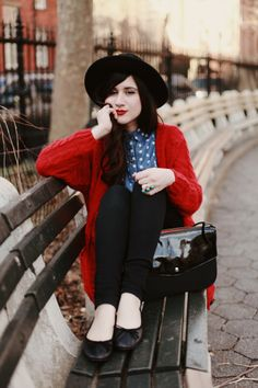 red cardigan, polka dot shirt, & bowler hat ~~ #FlashesOfStyle