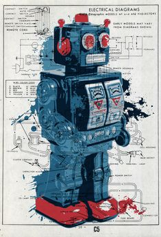 Roger Wilco's World of Time and Space Souvenirs, the-daily-robot: Toy Robot… Vintage Robots, Retro Robot, Retro Toys, Vintage Toys, Vintage Art, Robot Tattoo, Pop Art Poster, Toy Rocket, Futuristic Robot