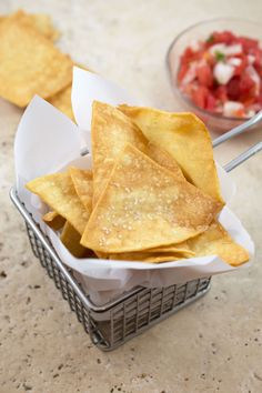 Make tortilla chips at home! This recipe is super simple to make and tastes so much better than the store brand. Serve with salsa, guacamole, or queso dip!
