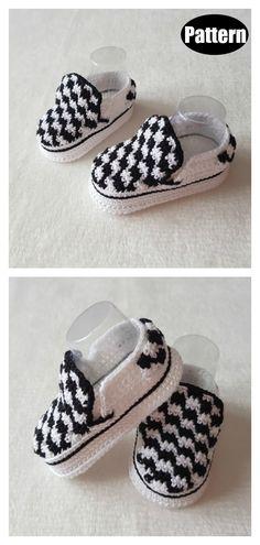 Vans Style Baby Booties Crochet Pattern – Baby For look here Booties Crochet, Crochet Baby Boots, Crochet Baby Clothes, Crochet For Boys, Crochet Shoes, Boy Crochet, Crochet Converse, Baby Booties Knitting Pattern, Free Crochet