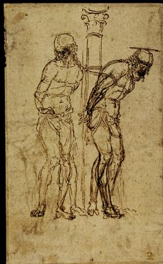 "artist-mantegna: ""Two Studies for Christ at the Column, Andrea Mantegna "" Italian Painters, Italian Artist, Fine Art Drawing, Figure Drawing, Italian Renaissance, Renaissance Art, Drawing Sketches, Art Drawings, Sketching"