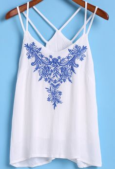 White Double Spaghetti Strap Embroidered Cami Top