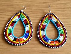 handmade beaded hoop earrings | maasai-handmade-africa-ethnic-jewelry-beaded-multi-color-hoop-earring ...