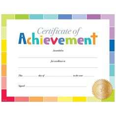 This simple yet colorful Painted Palette Certificate of Achievement award is a perfect reward for students in any grade from PreK to 12. The rainbow of colors in paint chip style are accented by a gold Excellence seal to give this award a modern and fun look.