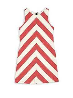 MILLY Girl's Chevron-Print Dress - Red - Size