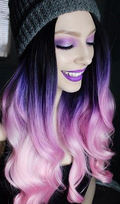 Best Girly Pink and Purple Hair Dye Ombre Hair Color, Ombre Hair, Purple Hair, Purple Ombre, Violet Ombre, Purple Balayage, Violet Hair, Black Ombre, Teal Orange, Blue Green