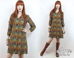 #Vintage #70s Brown Southwestern Print Longsleeve #Hippie #Boho Dress, fits S/M by #shopEBV http://etsy.me/1vZ5sVz @Etsy #etsy #fallfashion