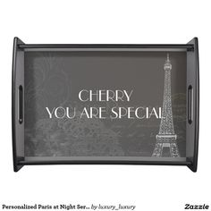 Personalized Paris at Night Serving Trays