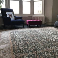 Handmade Rug from The Handmade Rug Company - The Transitional rug range is made with hand spun wool and silk. Rug Company, Transitional Rugs, Grey Rugs, Living Room Inspiration, Persian Carpet, Beautiful Interiors, Rugs In Living Room, Green And Grey, Carpets