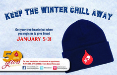 Community Blood Center Scraping the car windows? - Don't forget your hat! Shoveling the drive? - Don't forget your hat!! Taking the kids sledding? - Don't forget your hat!!! It's the final week to get a CBC Blood Drop knit beanie, FREE when you register to donate at any CBC Donor Center & most CBC mobile blood drives now through Saturday, Jan. 31.