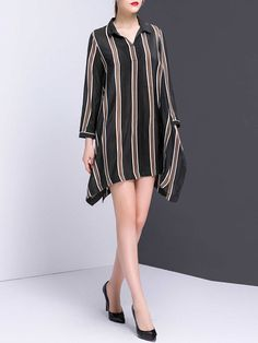 Multicolor Stripes Asymmetrical Casual Silk Mini Dress