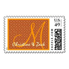 Gold and Orange Polka Dots Wedding S537 Postage Stamps #wedding #stamps #love #marriage #romance #bride #groom #jaclinart #love #postage #gold #orange #polkaDots
