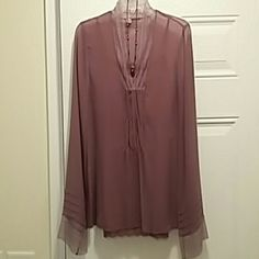 Blouse deep rose, nwot Sheer, lace blouse with camisole and necklace Tops Blouses