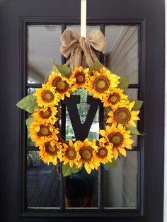 Sunflower wreath for doors of reception site?