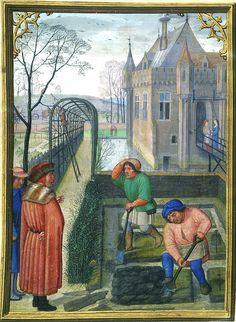 Marzo: Scavare la terra del giardino - Costa Hours - Simon Bening (1483/84–1561) - manoscritto miniato - in Latino - Belgium, Bruges, ca. 1515 - Pierpont Morgan Library