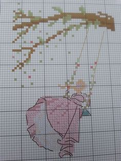 0 point de croix silhouette fille sur balancoire - cross stitch silhouette of a girl on a swing